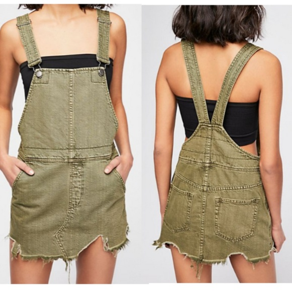 13709119609 Free People Green Ripped Overalls Dress SZ 2 NWT!